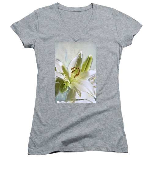 Women's V-Neck T-Shirt (Junior Cut) featuring the photograph White Lilies On Blue by Jacqi Elmslie