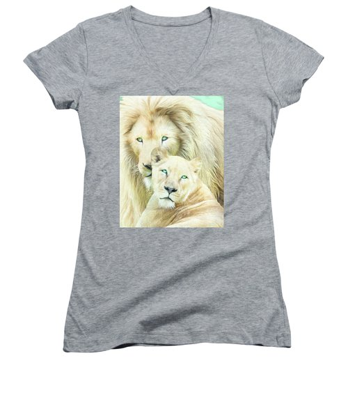 Women's V-Neck T-Shirt featuring the mixed media White Lion Family - Mates by Carol Cavalaris