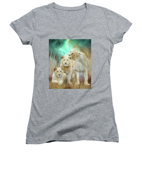 Women's V-Neck T-Shirt featuring the mixed media White Lion Family - Mothering by Carol Cavalaris