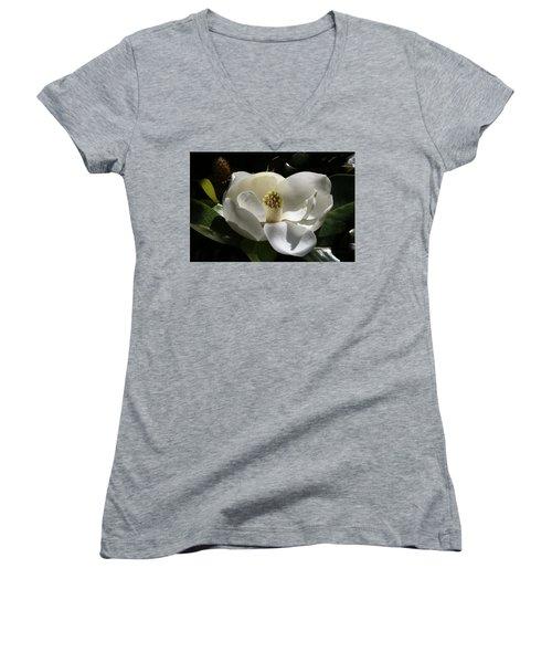 White Magnolia Flower Women's V-Neck
