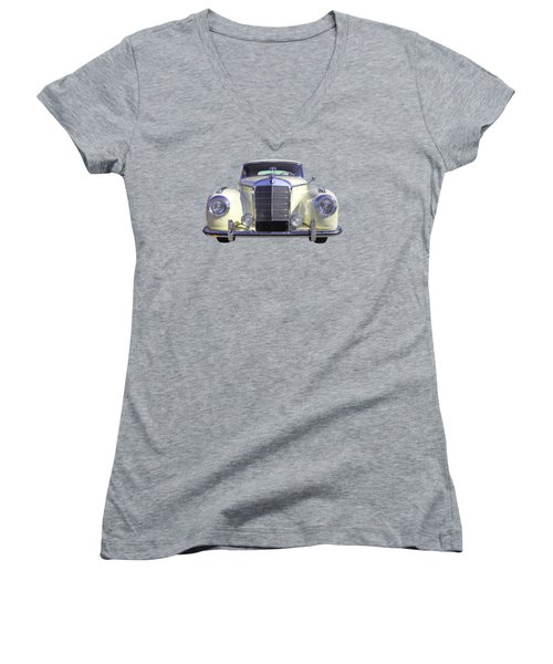 White Mercedes Benz 300 Luxury Car Women's V-Neck T-Shirt (Junior Cut) by Keith Webber Jr
