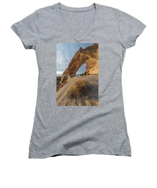 Women's V-Neck T-Shirt (Junior Cut) featuring the photograph White Mesa Arch by Dustin LeFevre