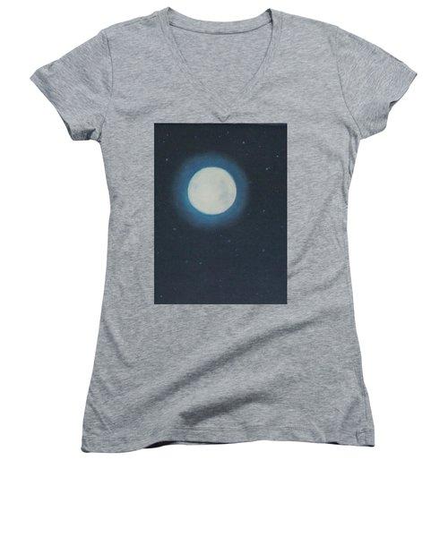 White Moon At Night Women's V-Neck