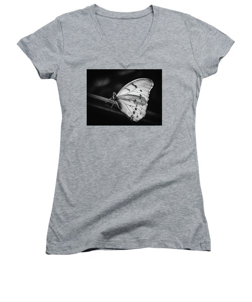 White Morpho Black And White Women's V-Neck