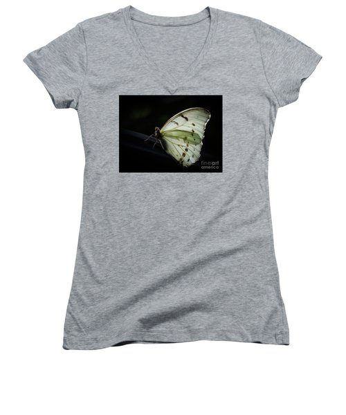 White Morpho In The Moonlight Women's V-Neck
