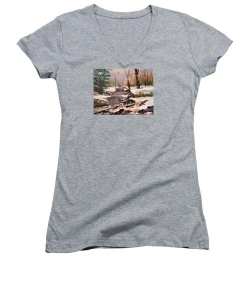 White Mountains Creek Women's V-Neck T-Shirt (Junior Cut) by Larry Hamilton