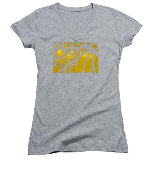 White Oak -yellow Orange Women's V-Neck T-Shirt (Junior Cut) by Tom Janca