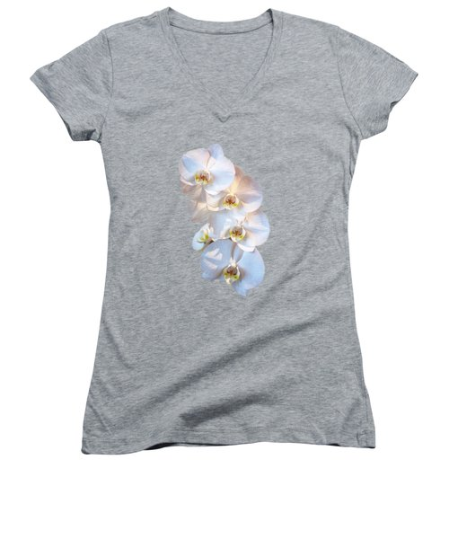 White Orchid Cutout Women's V-Neck (Athletic Fit)