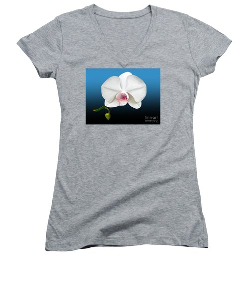 Women's V-Neck T-Shirt (Junior Cut) featuring the digital art White Orchid by Rand Herron