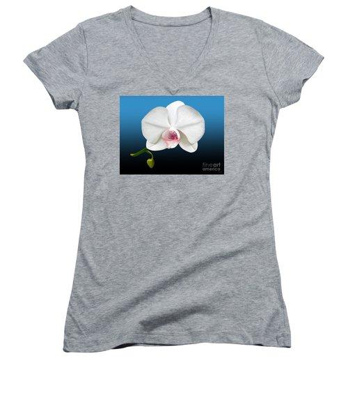 White Orchid Women's V-Neck T-Shirt (Junior Cut)