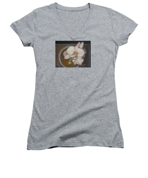 Women's V-Neck T-Shirt (Junior Cut) featuring the painting White Orchids by Donelli  DiMaria