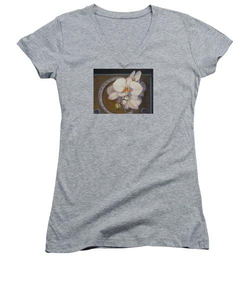 White Orchids Women's V-Neck T-Shirt
