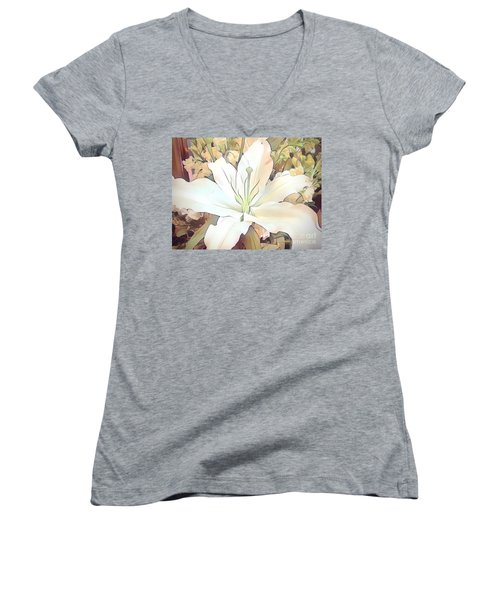 White Painted Lily Women's V-Neck (Athletic Fit)
