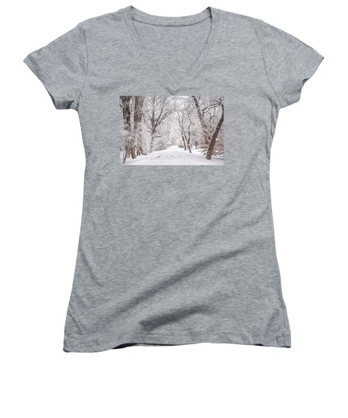 Women's V-Neck T-Shirt (Junior Cut) featuring the photograph White Path To Winter Dream by Jenny Rainbow