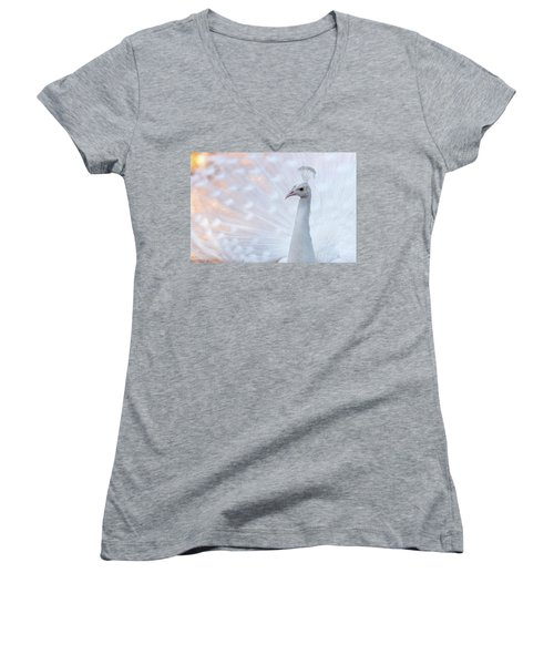 Women's V-Neck T-Shirt featuring the photograph White Peacock by Sebastian Musial