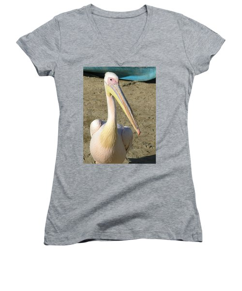 Women's V-Neck T-Shirt (Junior Cut) featuring the photograph White Pelican by Sally Weigand