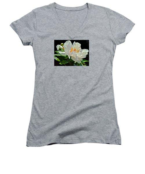 White Peony Women's V-Neck T-Shirt (Junior Cut) by Janis Nussbaum Senungetuk