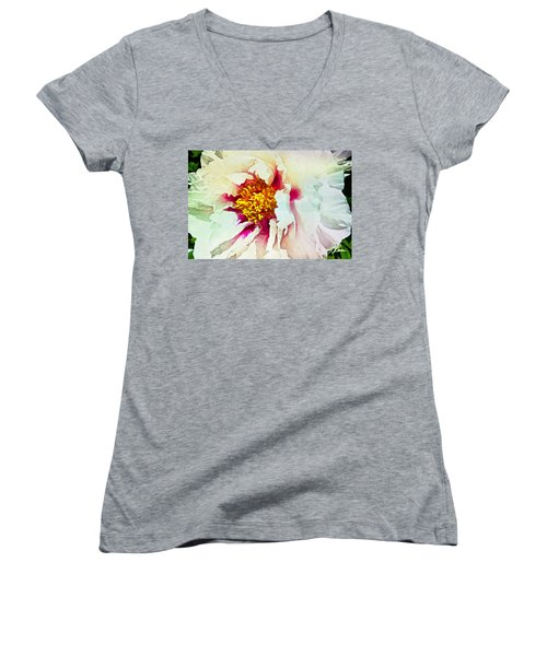 Women's V-Neck T-Shirt featuring the painting White Peony by Joan Reese
