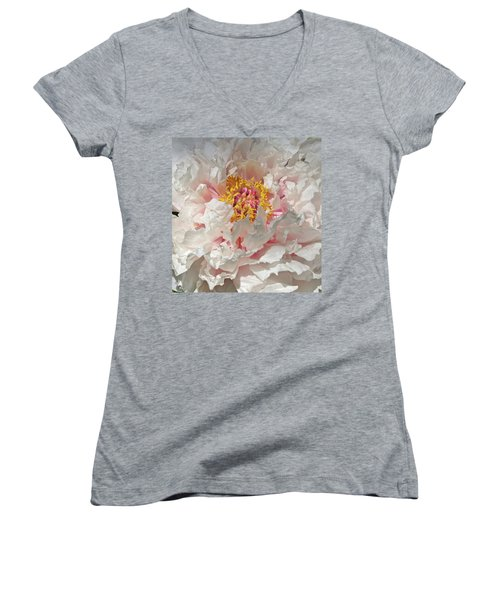 Women's V-Neck T-Shirt (Junior Cut) featuring the photograph White Peony by Sandy Keeton