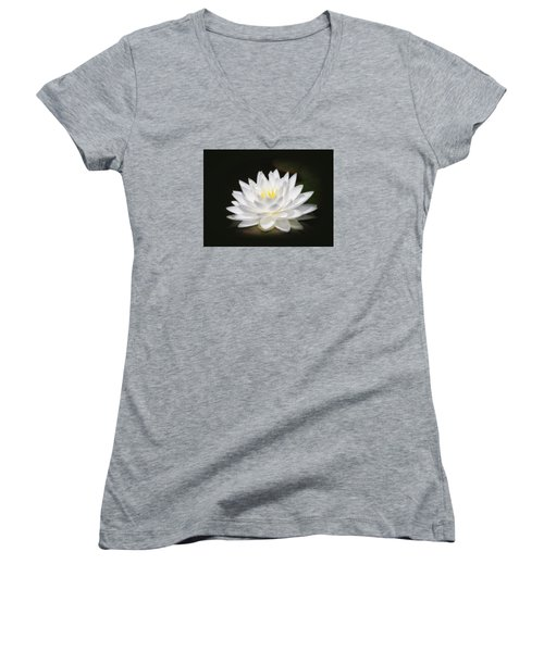 White Petals Glow - Water Lily Women's V-Neck T-Shirt