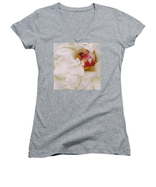 White Petals Women's V-Neck (Athletic Fit)