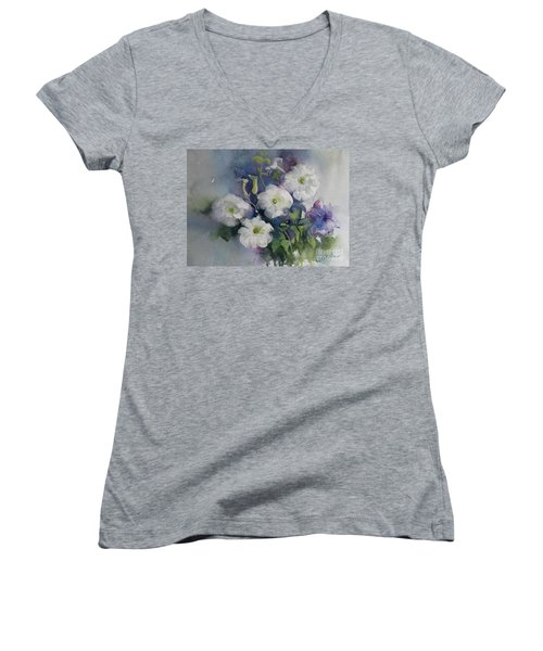 White Petunias Women's V-Neck T-Shirt (Junior Cut)