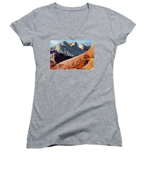 Women's V-Neck T-Shirt (Junior Cut) featuring the photograph White Pocket 34 by Bob Christopher