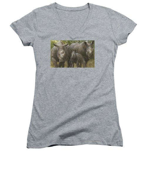 White Rhino Family - The Face That Only A Mother Could Love Women's V-Neck T-Shirt