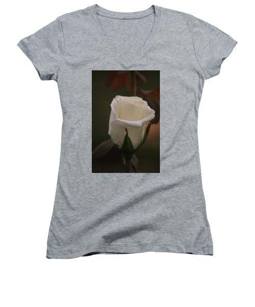 White Rose Women's V-Neck T-Shirt