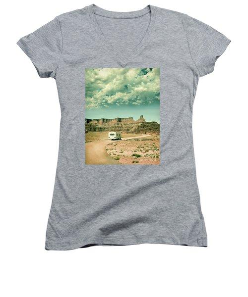 White Rv In Utah Women's V-Neck T-Shirt (Junior Cut) by Jill Battaglia