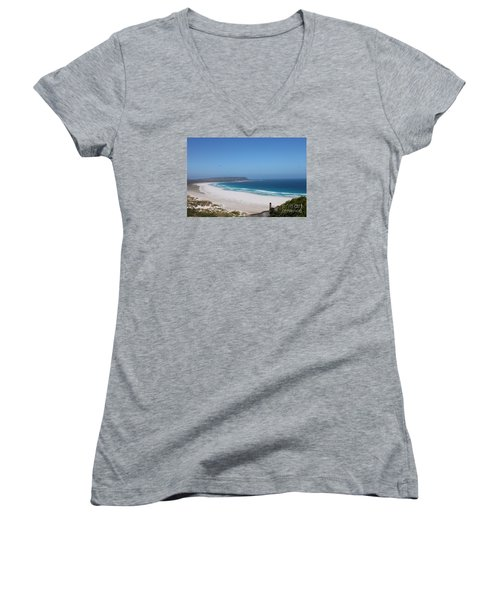 Women's V-Neck T-Shirt (Junior Cut) featuring the photograph White Sand Beach by Bev Conover