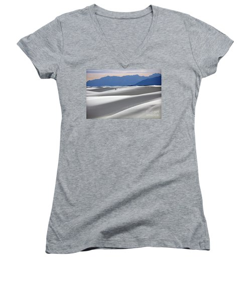 Women's V-Neck T-Shirt (Junior Cut) featuring the photograph White Sands Hikers by Martin Konopacki