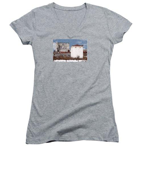 White Silo And Grain Elevator Women's V-Neck T-Shirt (Junior Cut) by David Blank