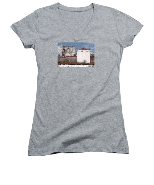 White Silo And Grain Elevator Women's V-Neck T-Shirt