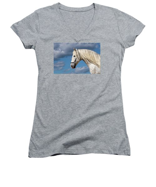 White Stallion Women's V-Neck (Athletic Fit)