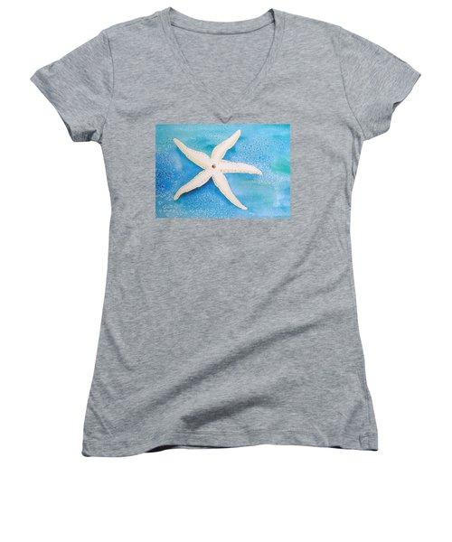 White Starfish Women's V-Neck T-Shirt (Junior Cut) by Patricia Piffath