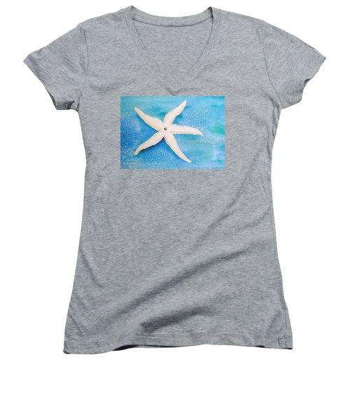 White Starfish Women's V-Neck T-Shirt