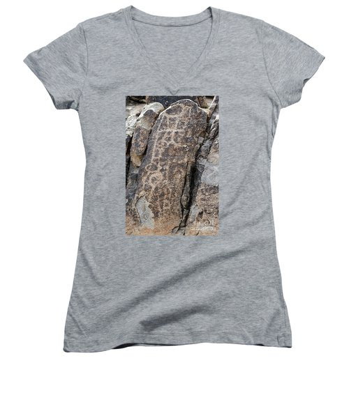 Women's V-Neck T-Shirt (Junior Cut) featuring the photograph White Tank Petroglyphs #1 by Anne Rodkin