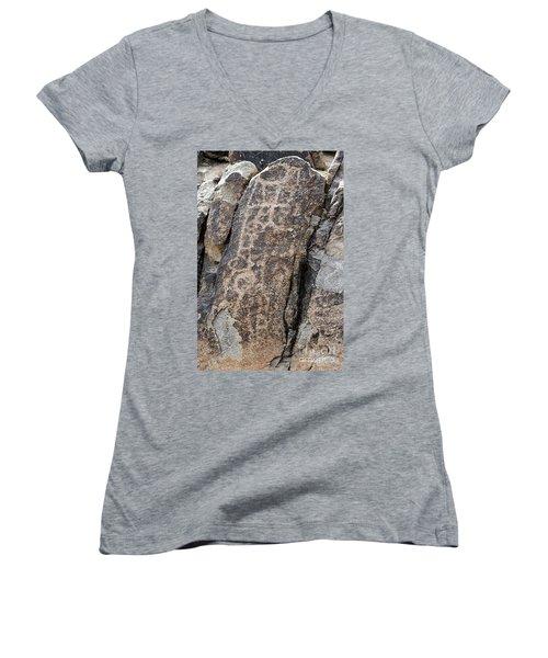 White Tank Petroglyphs #1 Women's V-Neck T-Shirt (Junior Cut) by Anne Rodkin