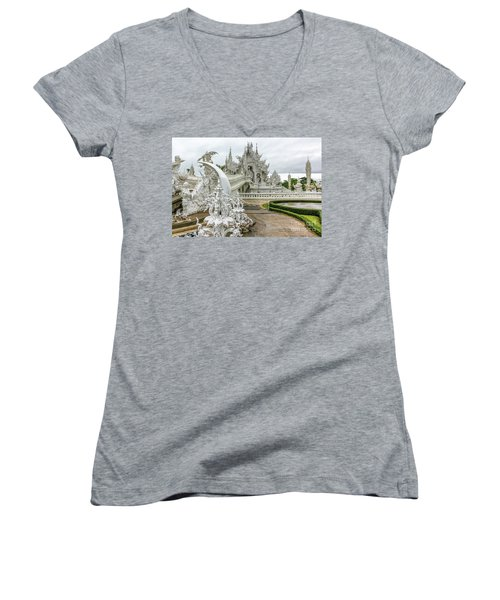 White Temple Thailand Women's V-Neck
