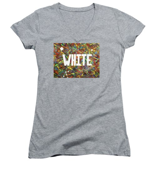 Women's V-Neck T-Shirt (Junior Cut) featuring the painting White by Thomas Blood