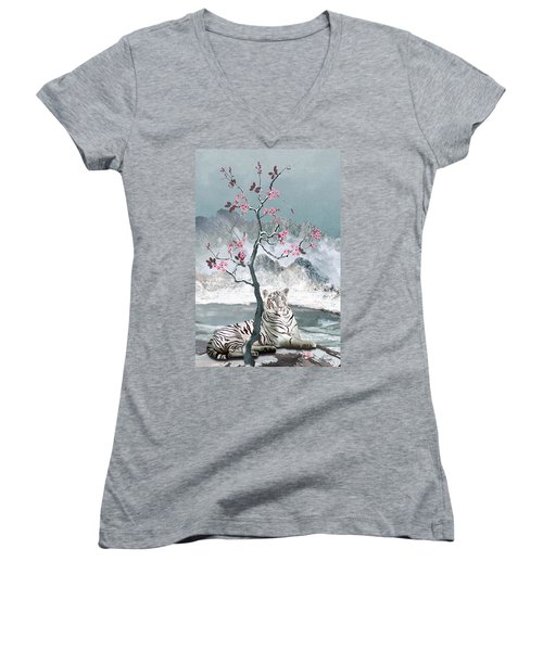 White Tiger And Plum Tree Women's V-Neck (Athletic Fit)