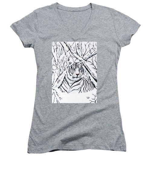 Women's V-Neck T-Shirt (Junior Cut) featuring the painting White Tiger Blending In by Teresa Wing