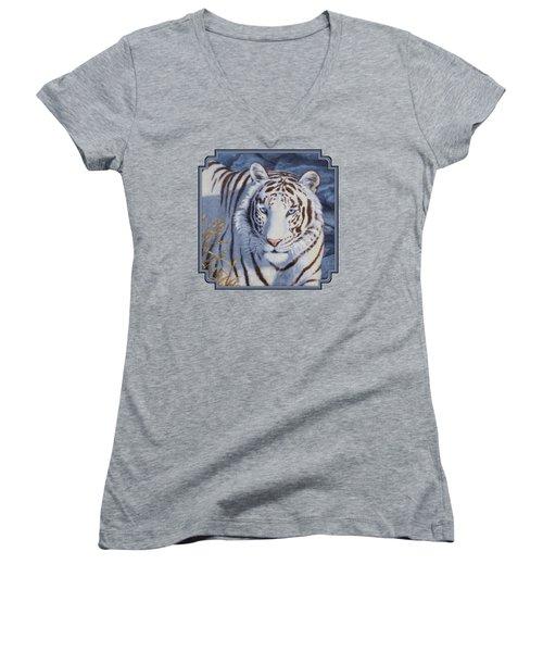 White Tiger - Crystal Eyes Women's V-Neck T-Shirt