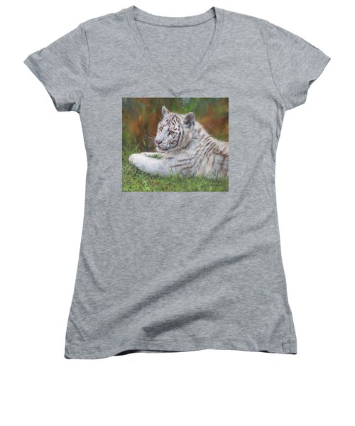 Women's V-Neck T-Shirt (Junior Cut) featuring the painting White Tiger Cub 2 by David Stribbling