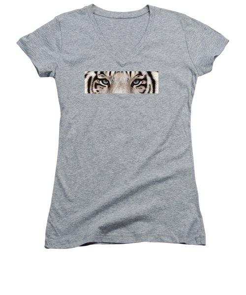 White Tiger Eyes Women's V-Neck T-Shirt