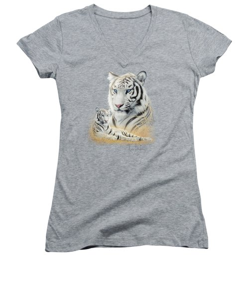 White Tiger Women's V-Neck T-Shirt (Junior Cut) by Lucie Bilodeau