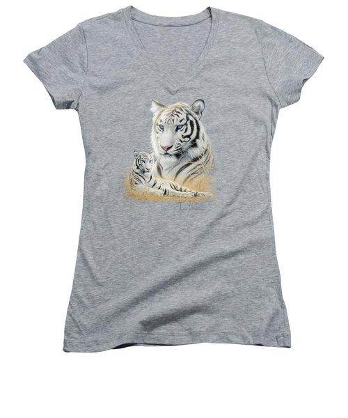 White Tiger Women's V-Neck T-Shirt (Junior Cut)