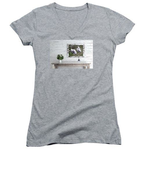 Women's V-Neck T-Shirt featuring the photograph White Timber Cottage By Kaye Menner by Kaye Menner