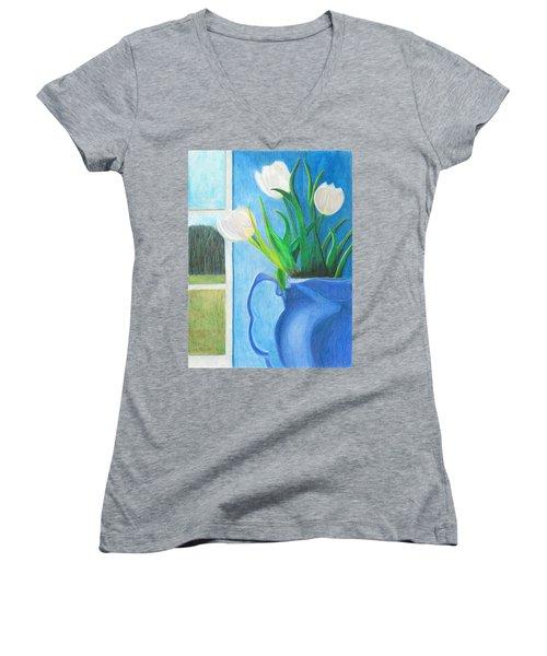 White Tulips Women's V-Neck T-Shirt